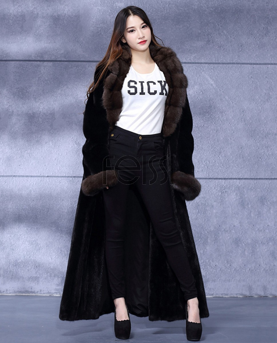 Full Length Mink Fur Coat with Sable Fur Collar 738a