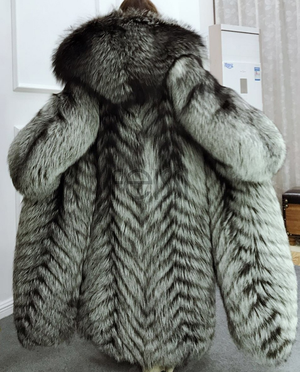 Full length Silver Fox Fur Long Coat with Hood 396a