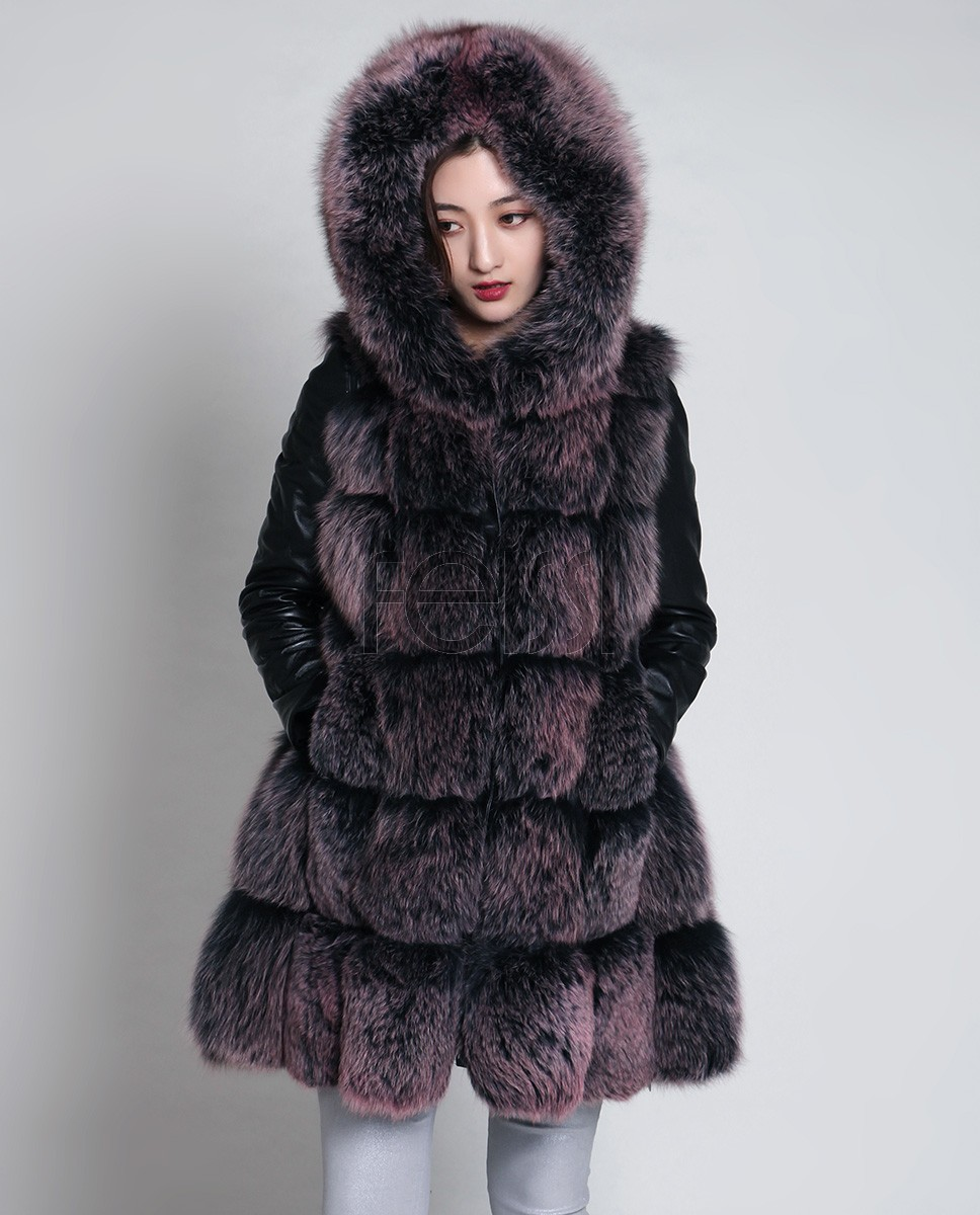 Hooded Fox Fur Coat with Leather Sleeves 888 Brown 1
