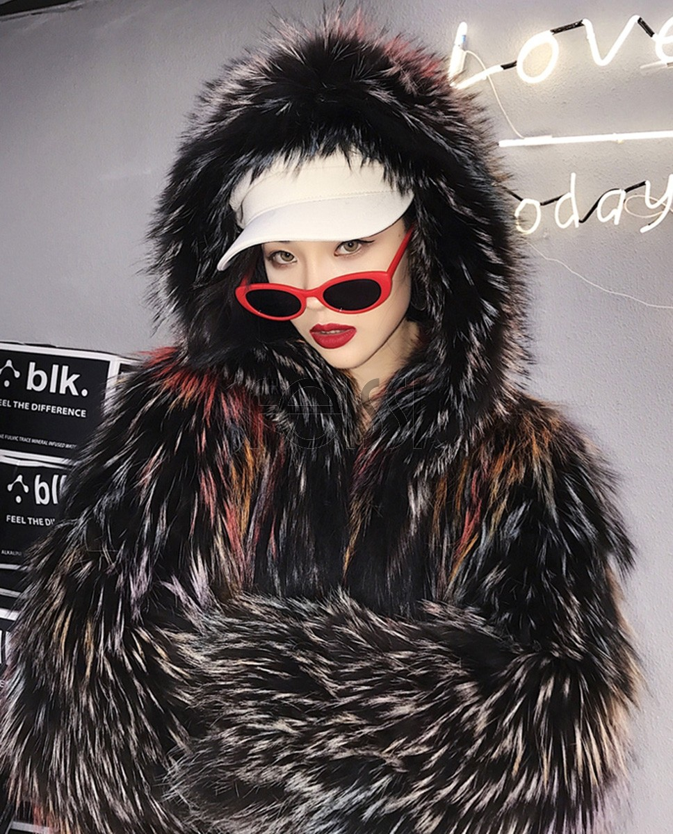 Hooded Fox Fur Jacket in Fantasy Color 0034a