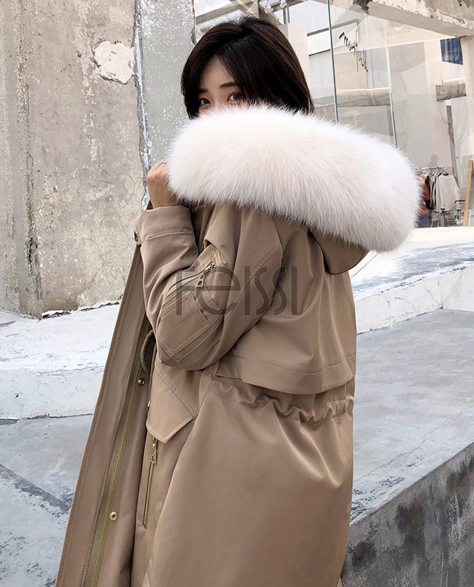 Hooded Fox Fur Trimmed Long Parka with Rex Rabbit Liner 283a