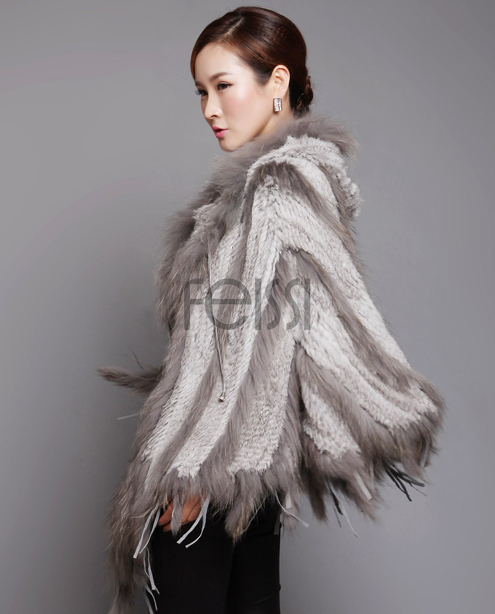 Hooded Knitted Rabbit Fur Pullover Cape with Raccoon Fur trim 620_1
