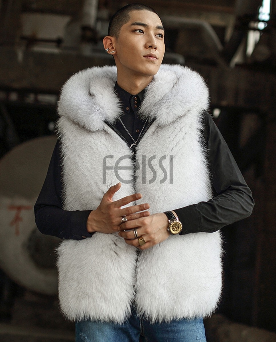 Hooded Men's Fox Fur Vest 389a