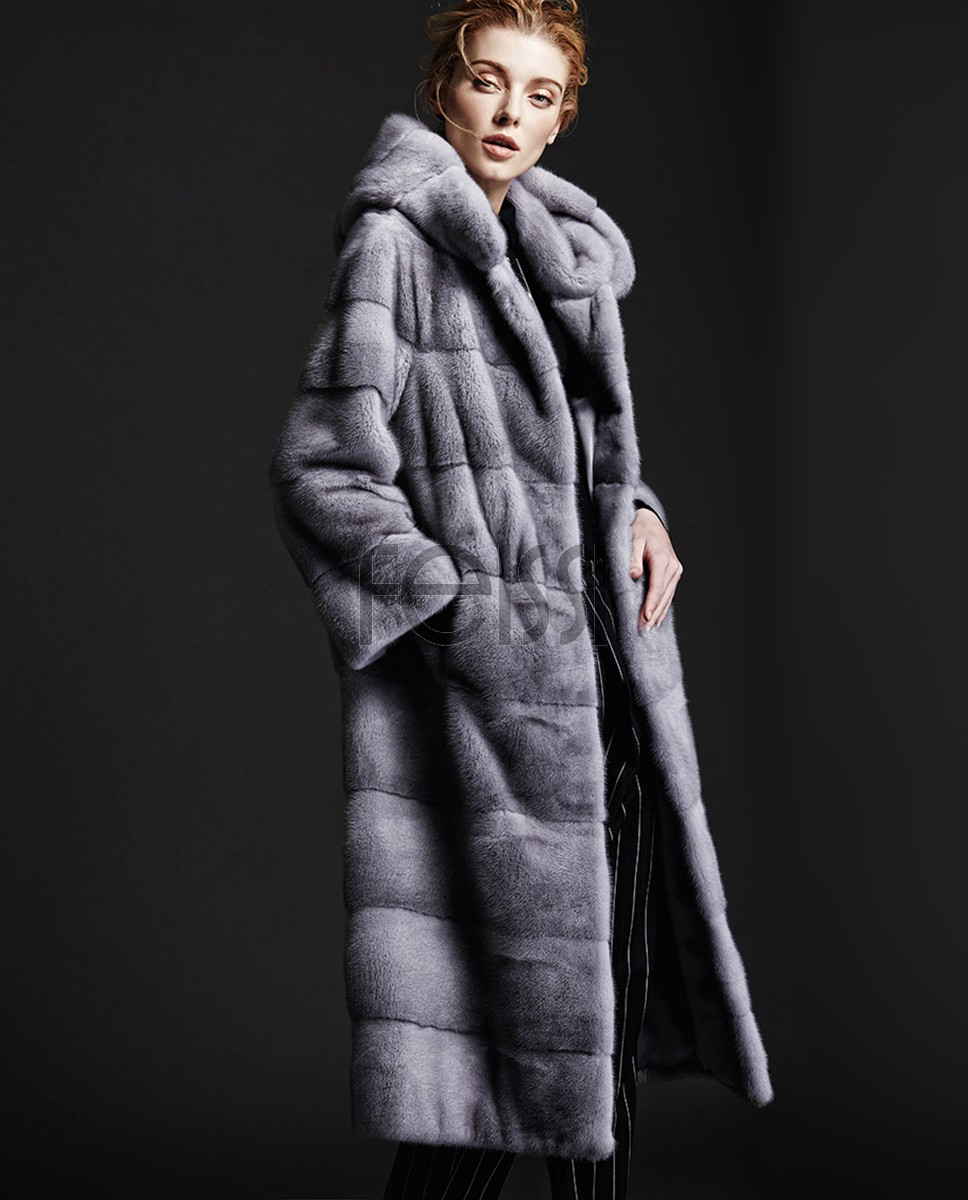 Hooded Sapphire Mink Fur Long Coat 147a