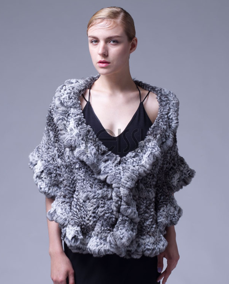 Knitted Chinchilla Fur Cape 038a