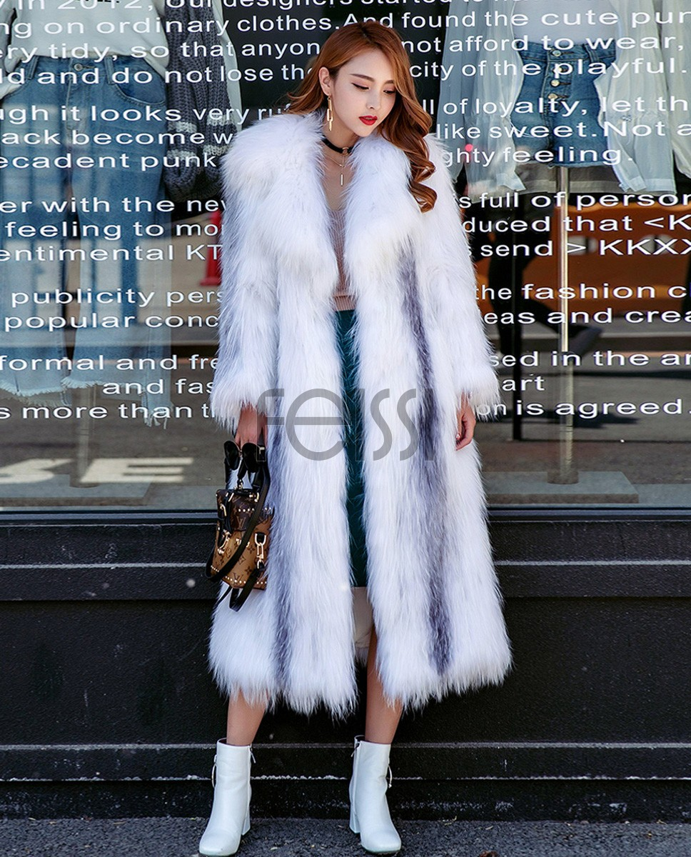 Knitted Cross Fox Fur Long Coat 923a