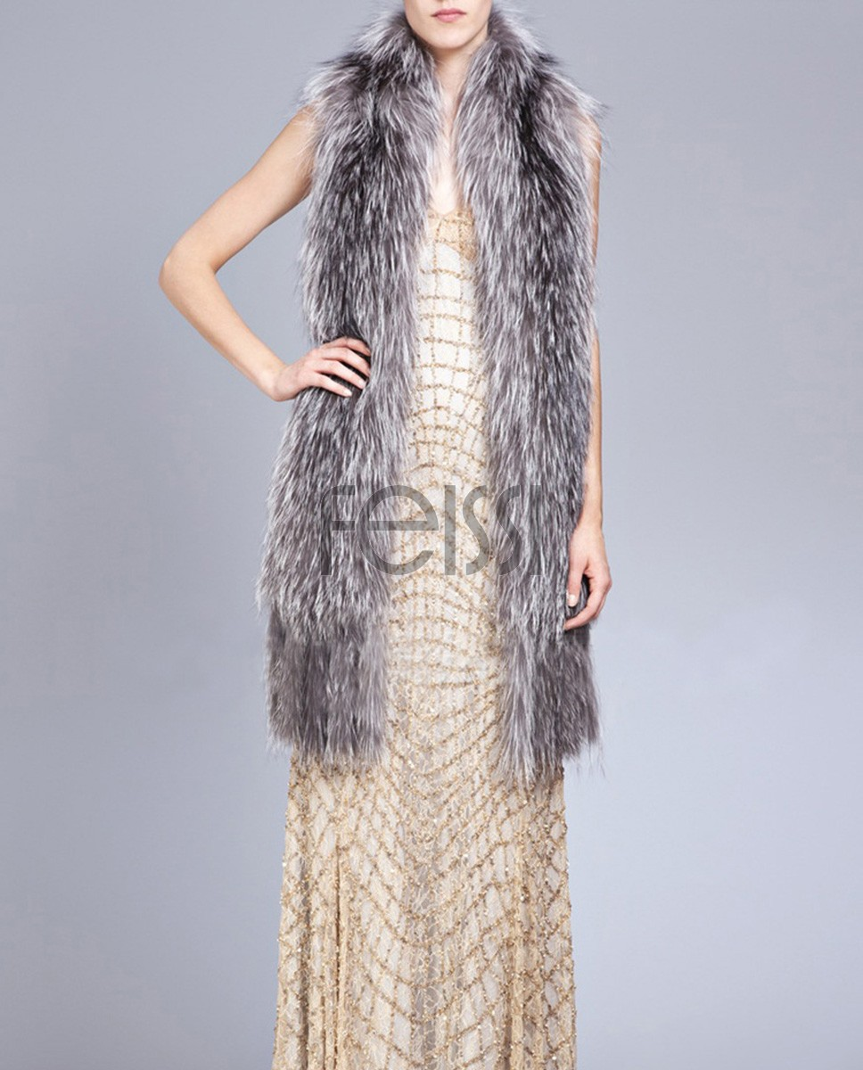 Knitted Fox Fur Shawl 823a