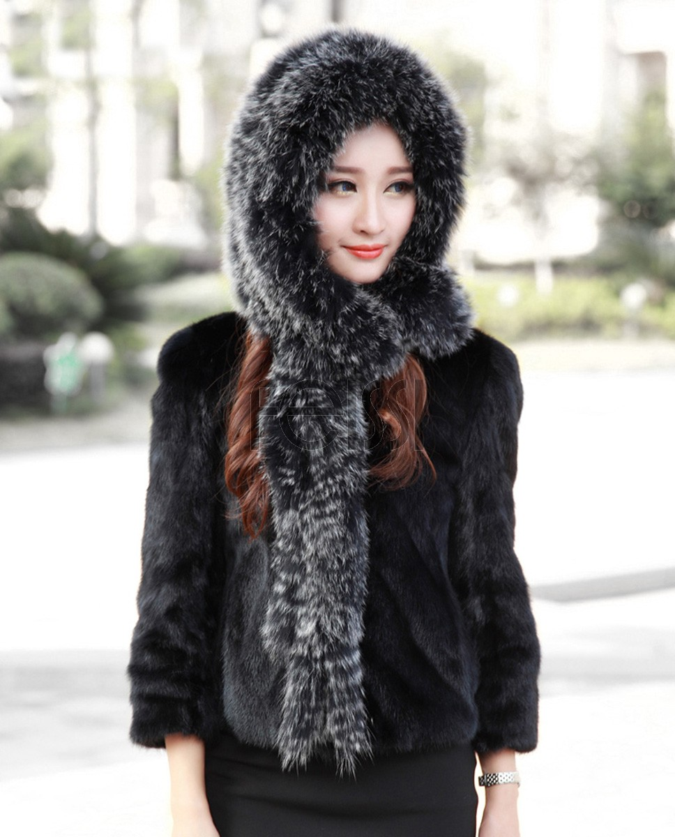 Knitted Fox Fur Shawl with Hood 874 Frost 1