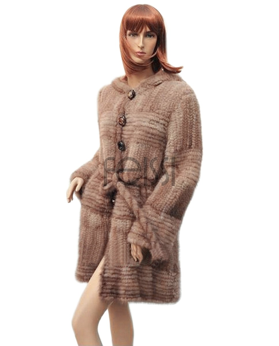 Knitted Mink Fur Coat With Hood 745a