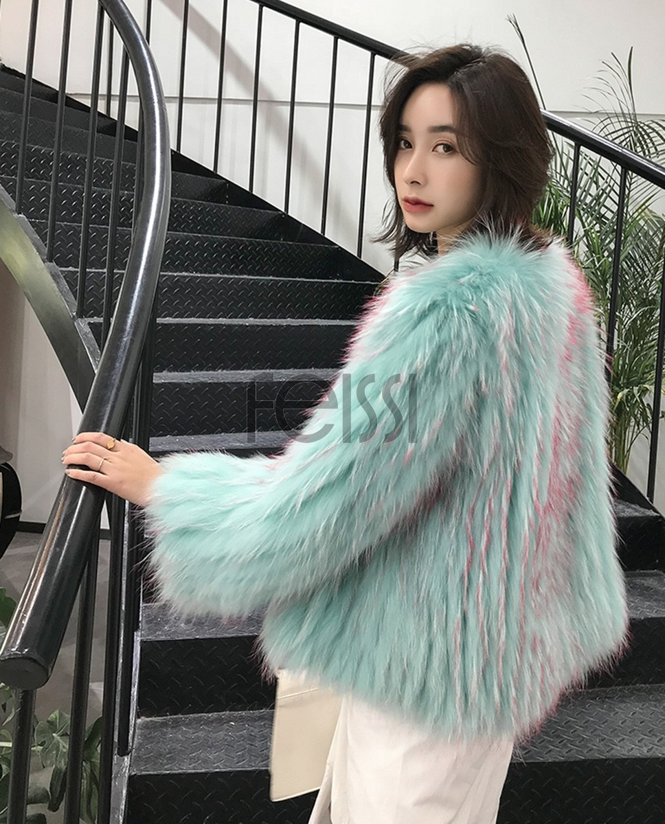 Knitted Raccoon Fur Cropped Jacket 312a