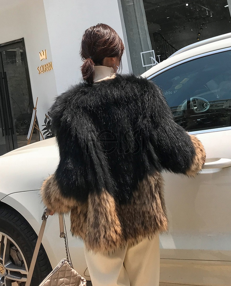 Knitted Raccoon Fur Jacket 306a