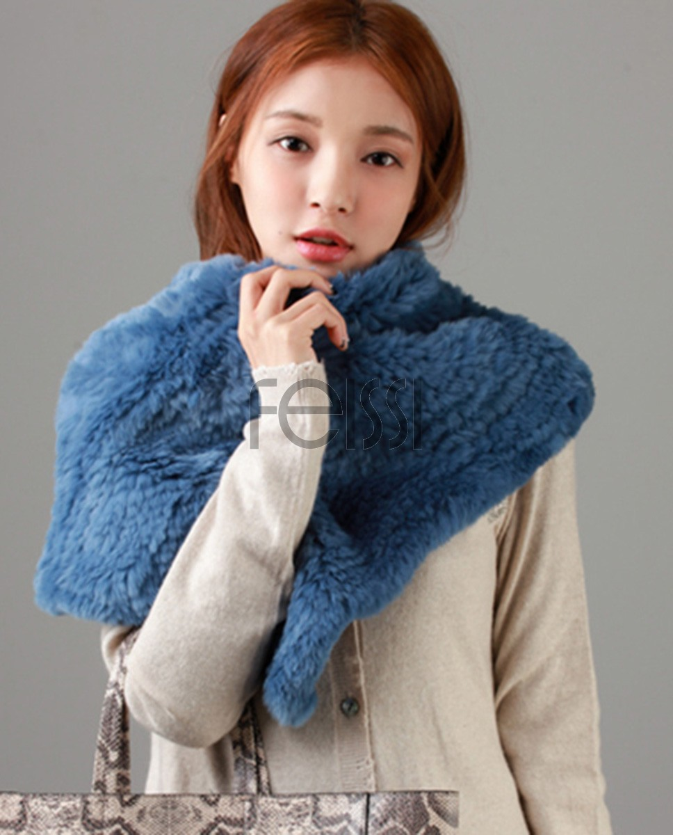 Knitted Rex Rabbit Fur Neck Warmer Capelet 848 Blue 1