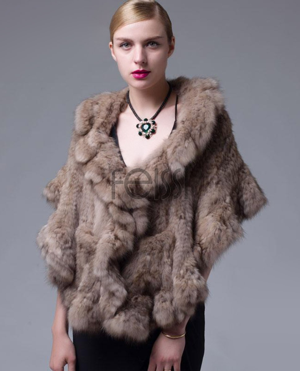 Knitted Sable Fur Cape 036d