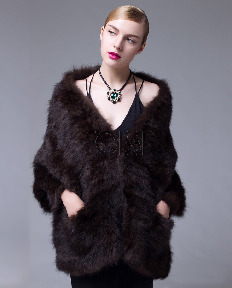 Knitted Sable Fur Cape 065a