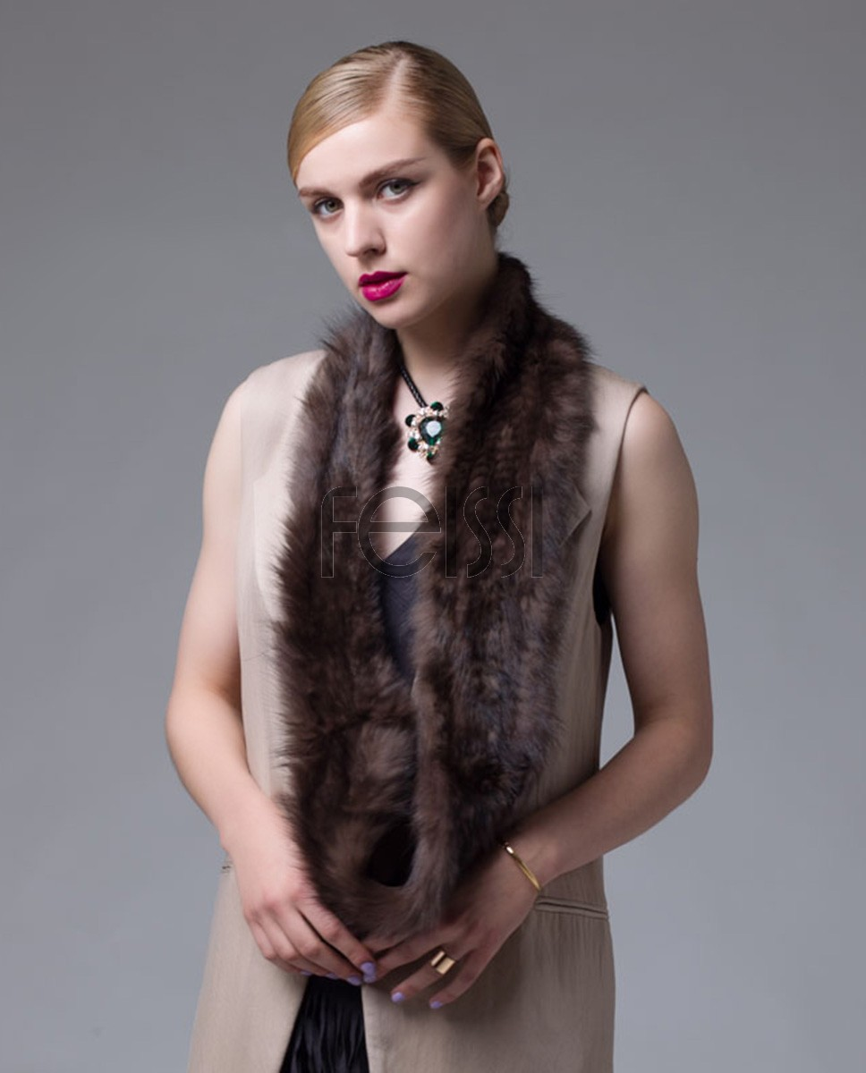 Knitted Sable Fur Infinity Scarf Wrap 060a