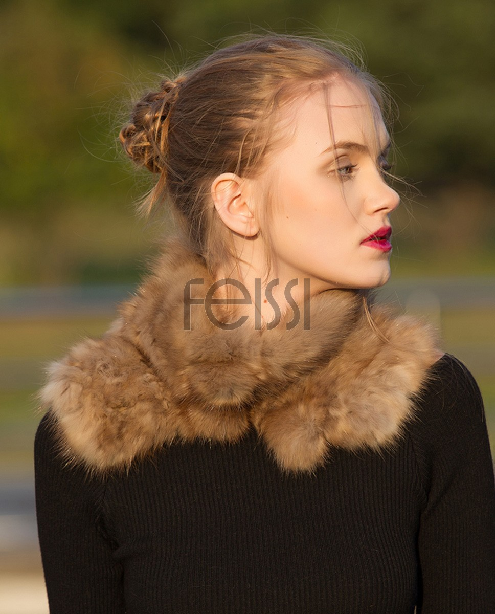 Knitted Sable Fur Neck Warmer Scarf 072a