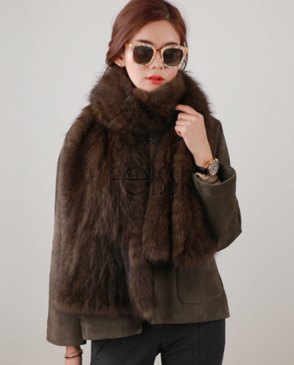 Knitted Sable Fur Shawl 847a