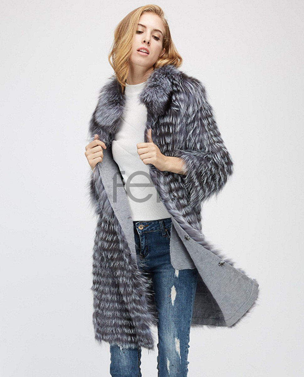 Knitted Silver Fox Fur Coat 962a