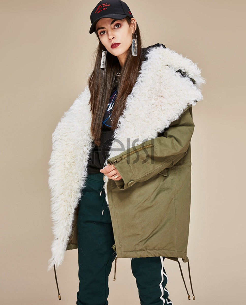 Lamb Fur Trimmed Parka with Quilted Liner 124a