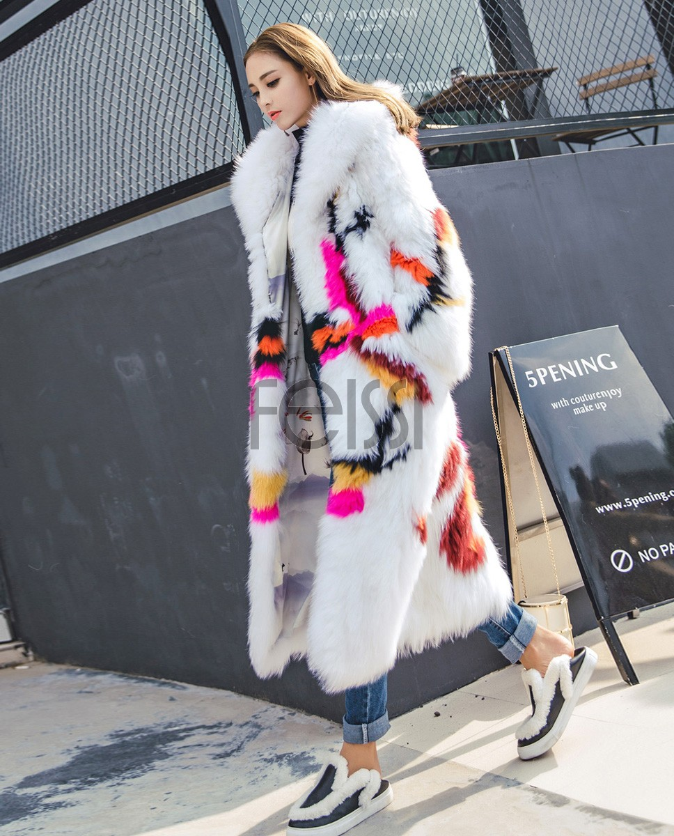 Long Length Knitted Fox Fur Coat 925a