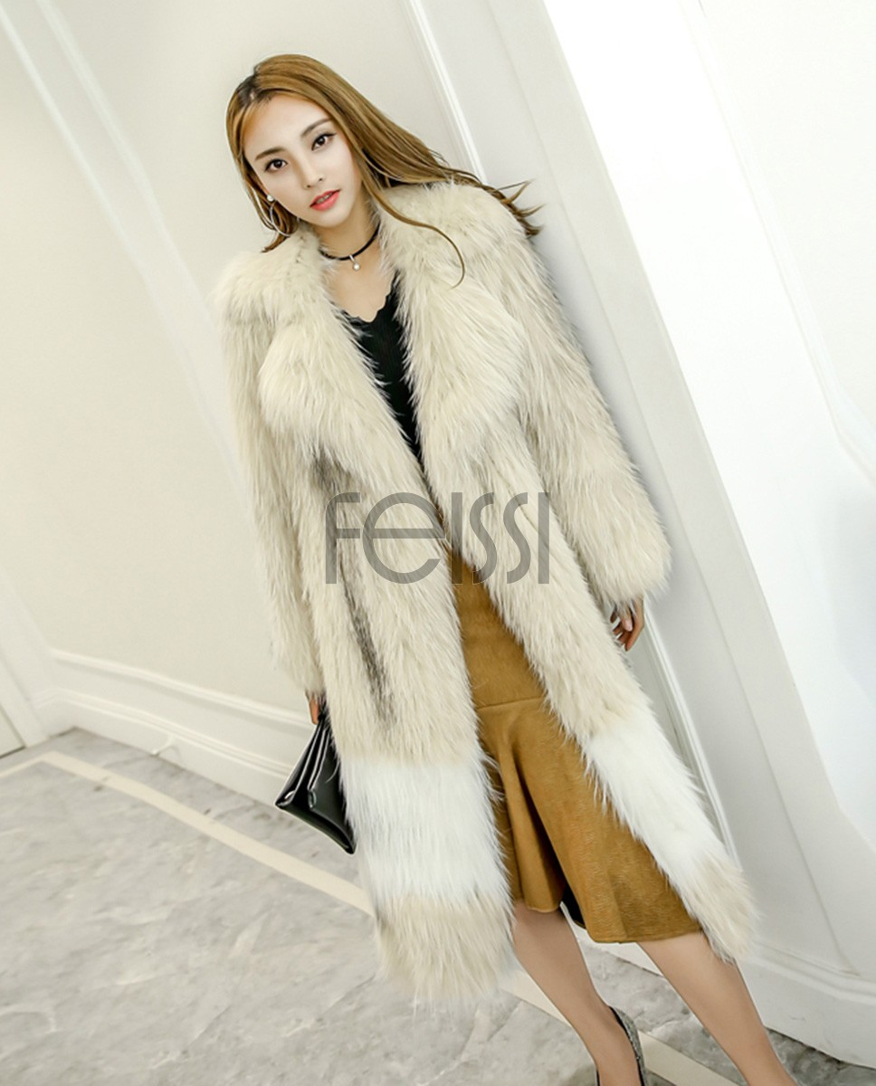 Long Length Knitted Fashion Fox Fur Coat 981a