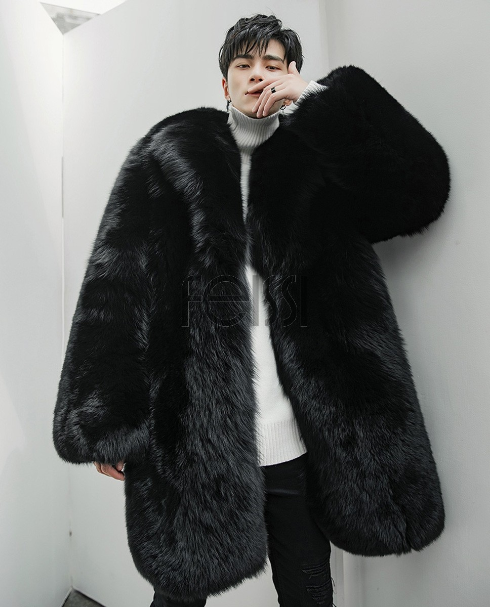 Men's Fox Fur Black Long Coat 382a