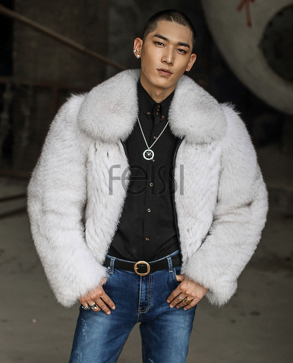 Men's Fox Fur Bomber Jacket 388a