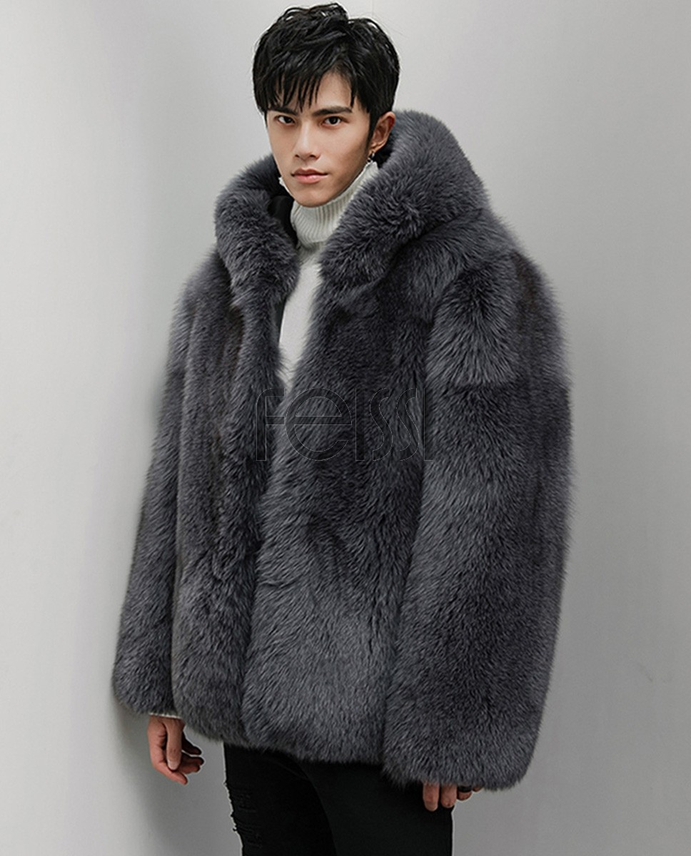 Men's Fox Fur Hooded Coat 381a