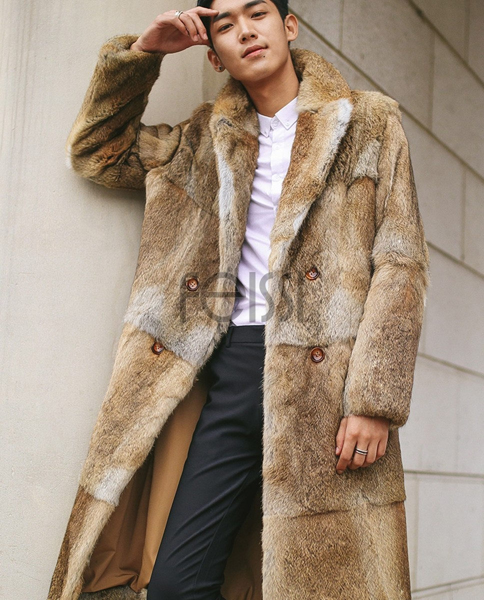 Men's Rabbit Fur Coat 348a