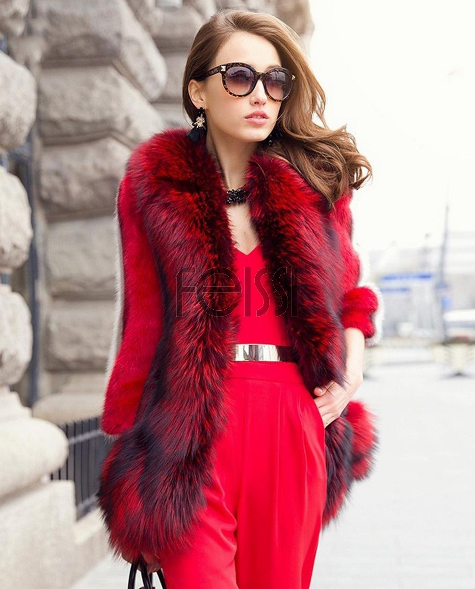 Mink Fur Coat With Fox Fur Trim 747a