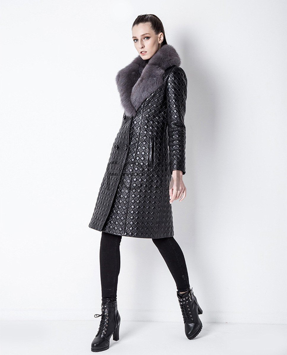 Quilted Sheep Leather Coat with Fox Fur Collar 798a