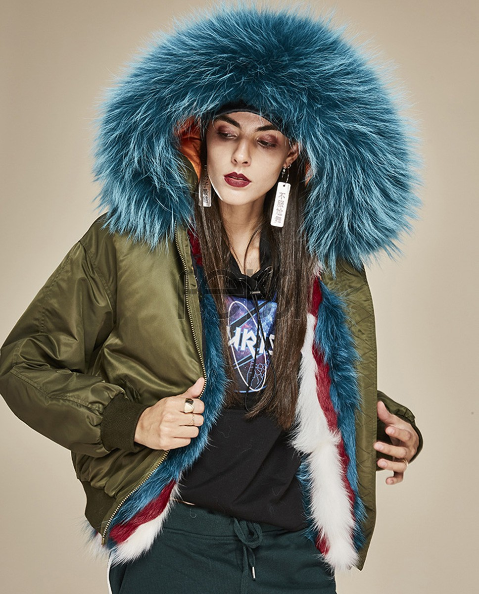Raccoon Fur Trimmed Hooded Jacket with Detachable Fox Fur Liner 117ba
