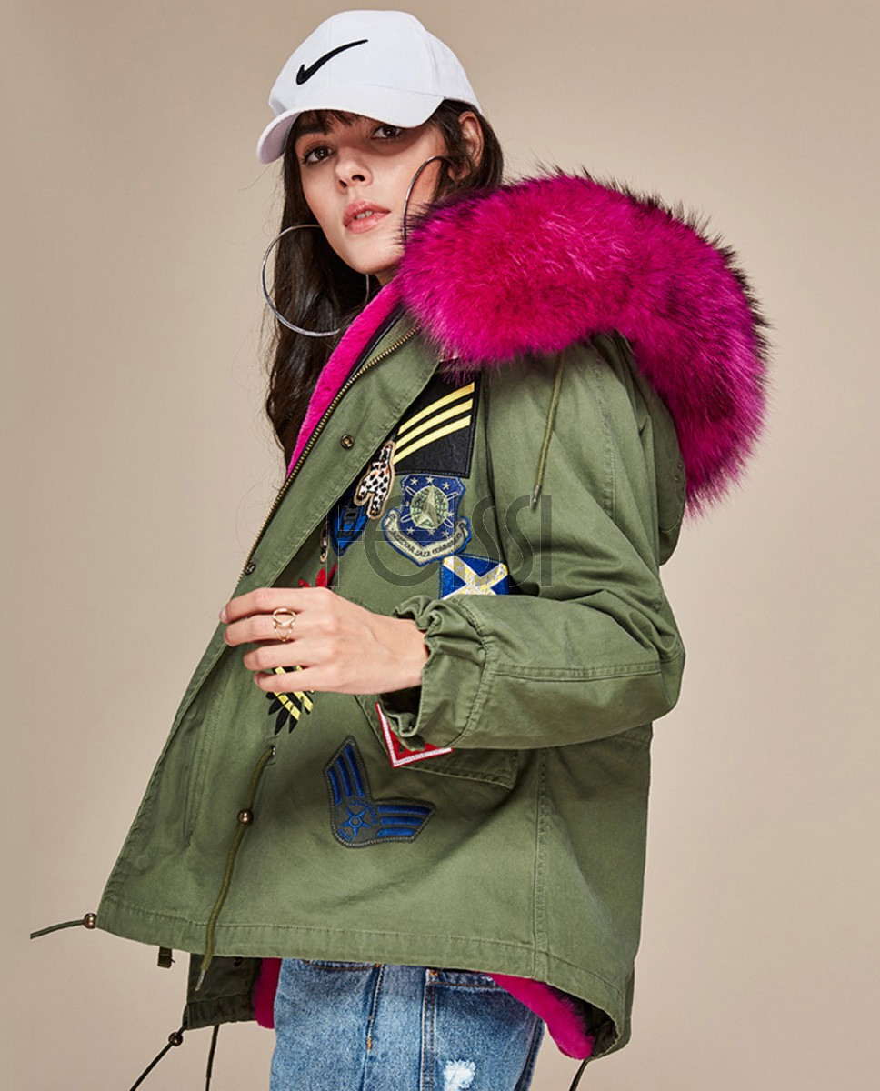 Raccoon Fur Trimmed Hooded Mini Parka with Detachable Liner 135a