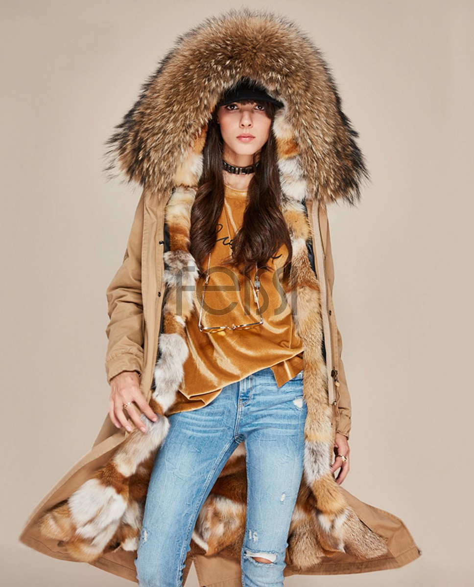 Raccoon Fur Trimmed Hooded Parka with Detachable Fox Fur Liner 113a