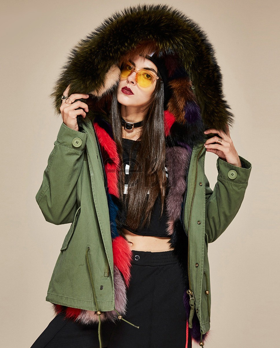Raccoon Fur Trimmed Hooded Parka with Detachable Fox Fur Liner 116da