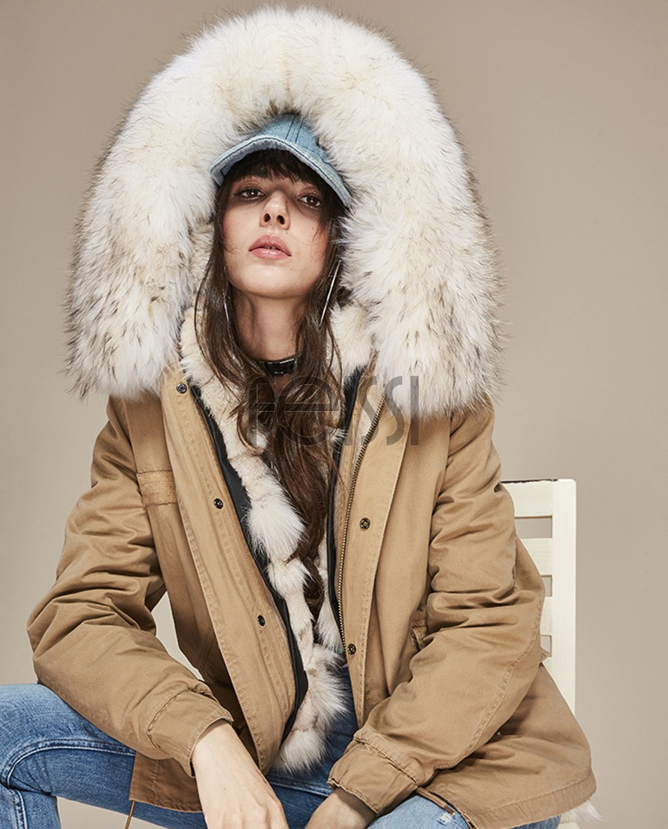 Raccoon Fur Trimmed Hooded Parka with Detachable Fox Fur Liner 166ca