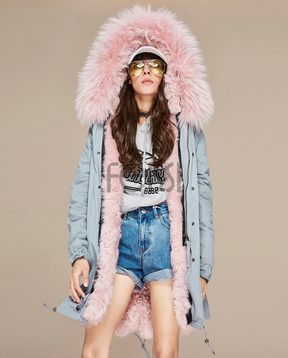 Raccoon Fur Trimmed Hooded Parka with Detachable Lamb Fur Liner 132a