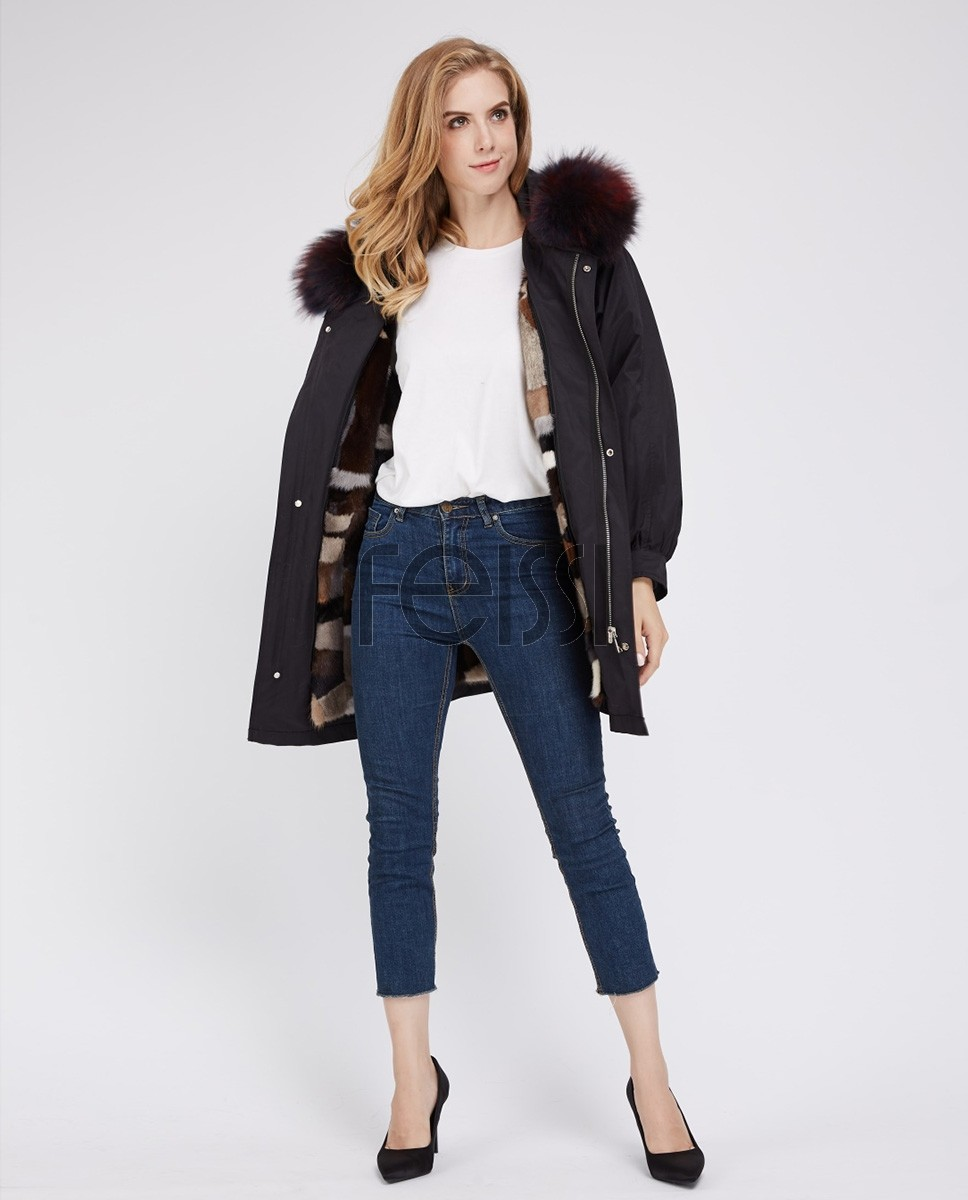 Raccoon Fur Trimmed Hooded Parka with Detachable Mink Fur Liner 243a