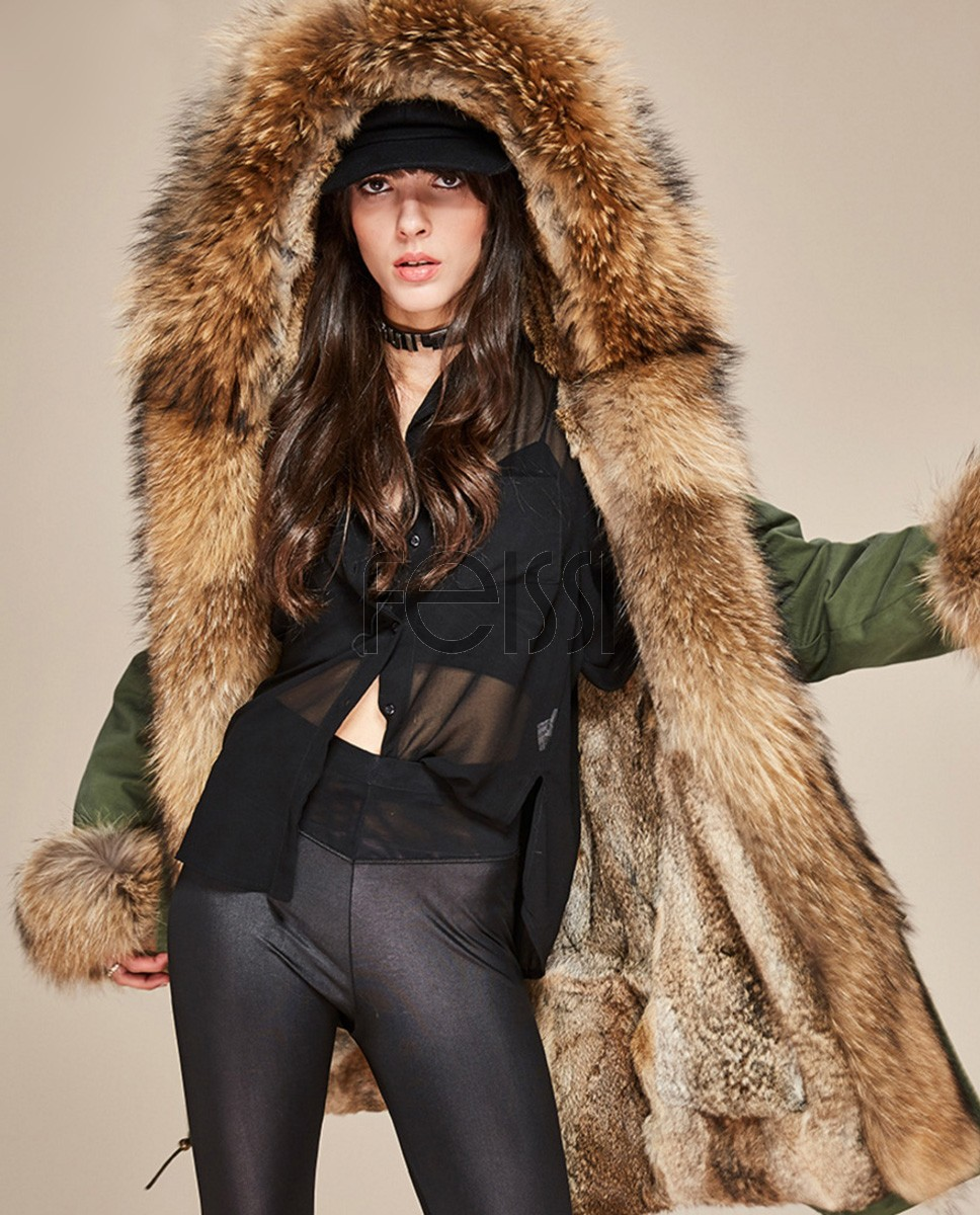 Raccoon Fur Trimmed Hooded Parka with Detachable Rabbit Fur Liner 122a
