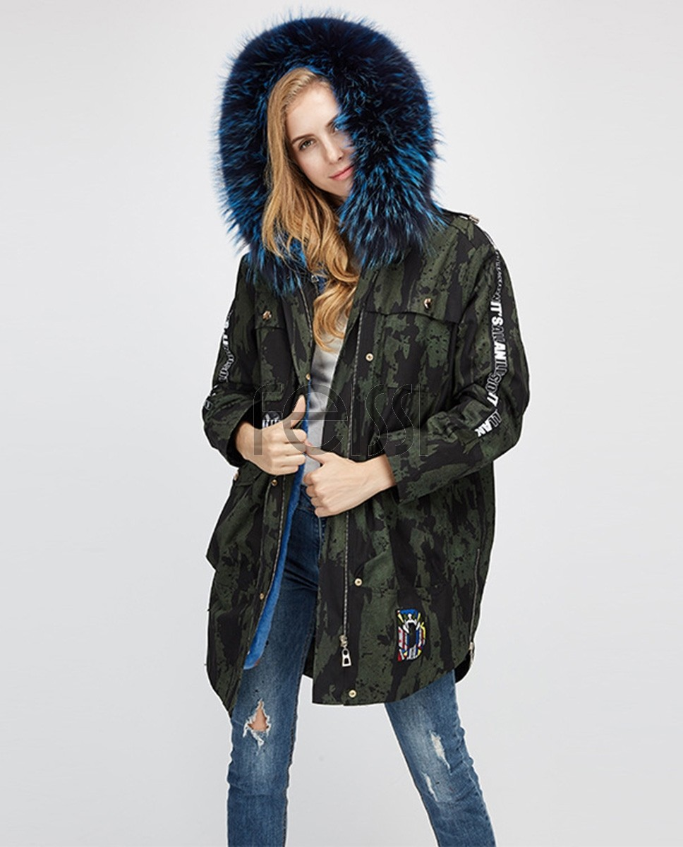 Raccoon Fur Trimmed Hooded Parka with Detachable Rex Rabbit Fur Liner 286a