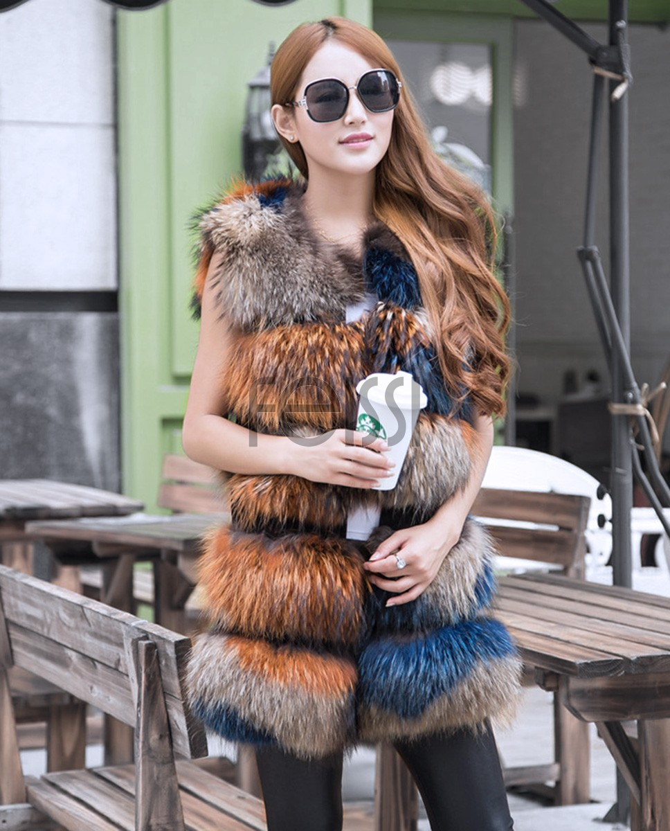 Raccoon Fur Vest 824 Multi 1