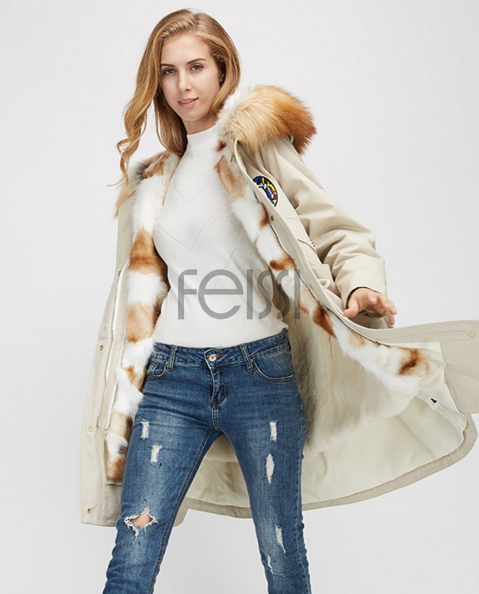 Red Fox Fur Trimmed Hooded Parka with Detachable Rex Rabbit Fur Liner 975a