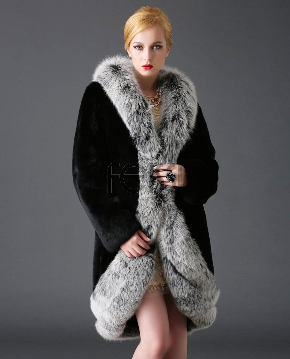 Rex Rabbit Fur Coat with Fox Fur Trimming 769a