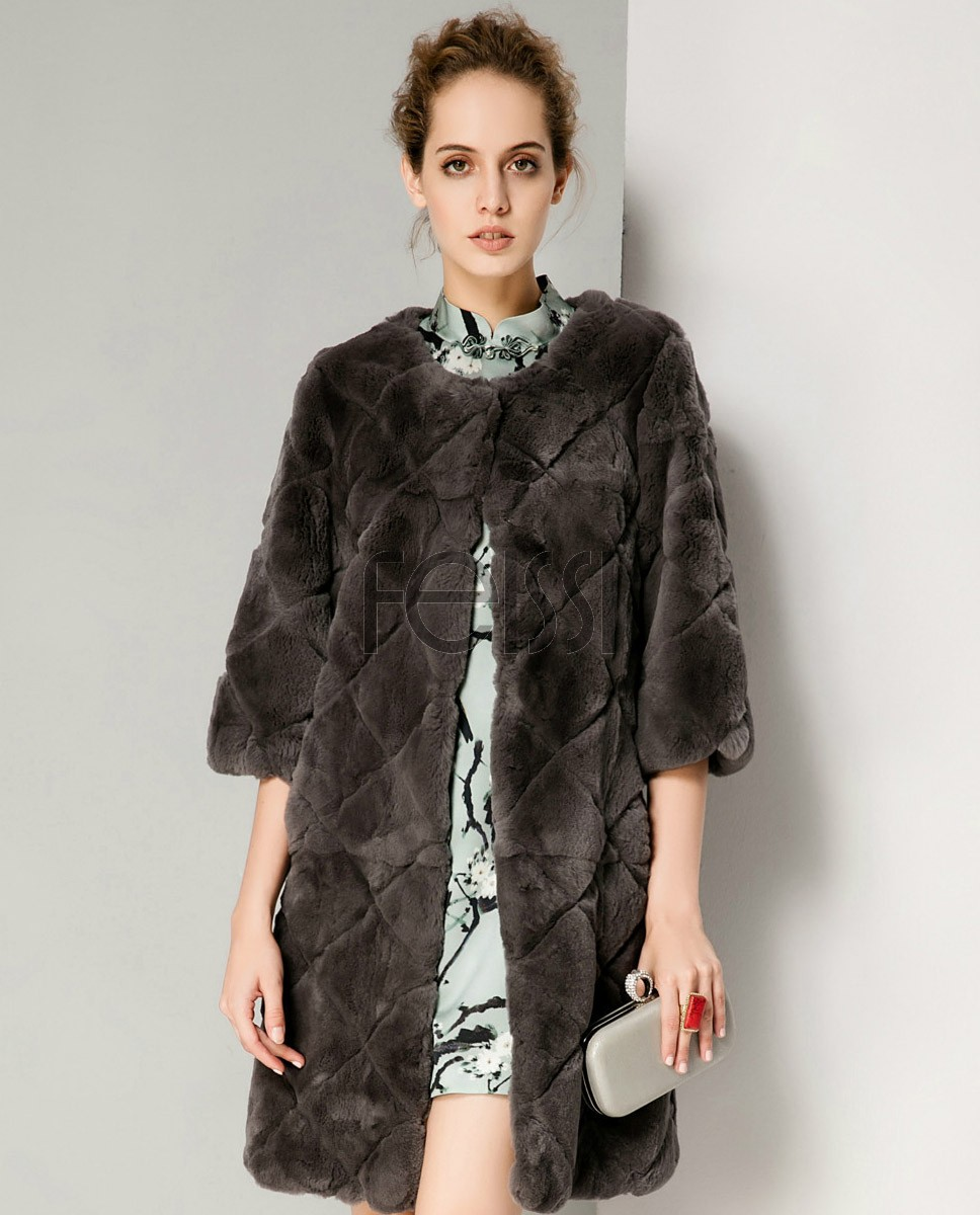 Rex Rabbit Fur Jacket 707 Gray 1