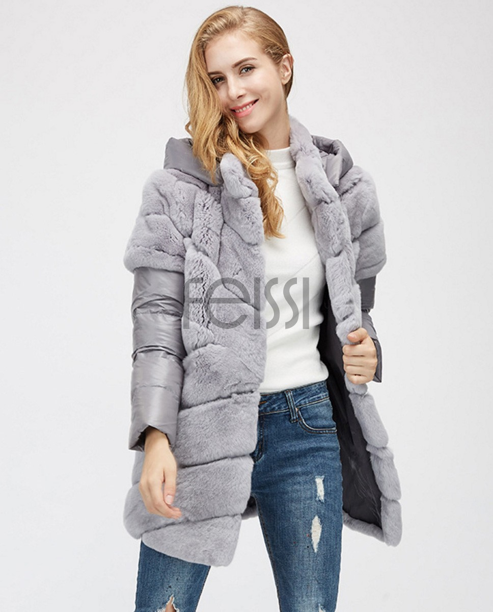 Rex Rabbit Fur Jacket with Detachable Down-filled Sleeves and Hood 959a