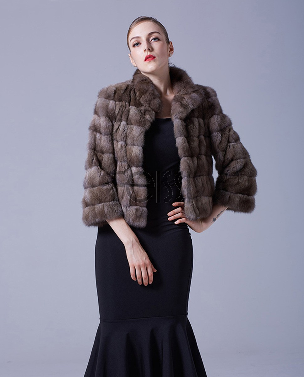 Sable Fur Cropped Jacket 051a