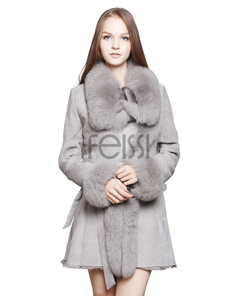 Shearling Sheepskin Coat with Fox Fur trim a