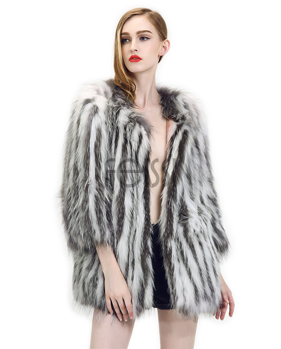 Silver Fox & Raccoon Fur Knitted Jacket 764a