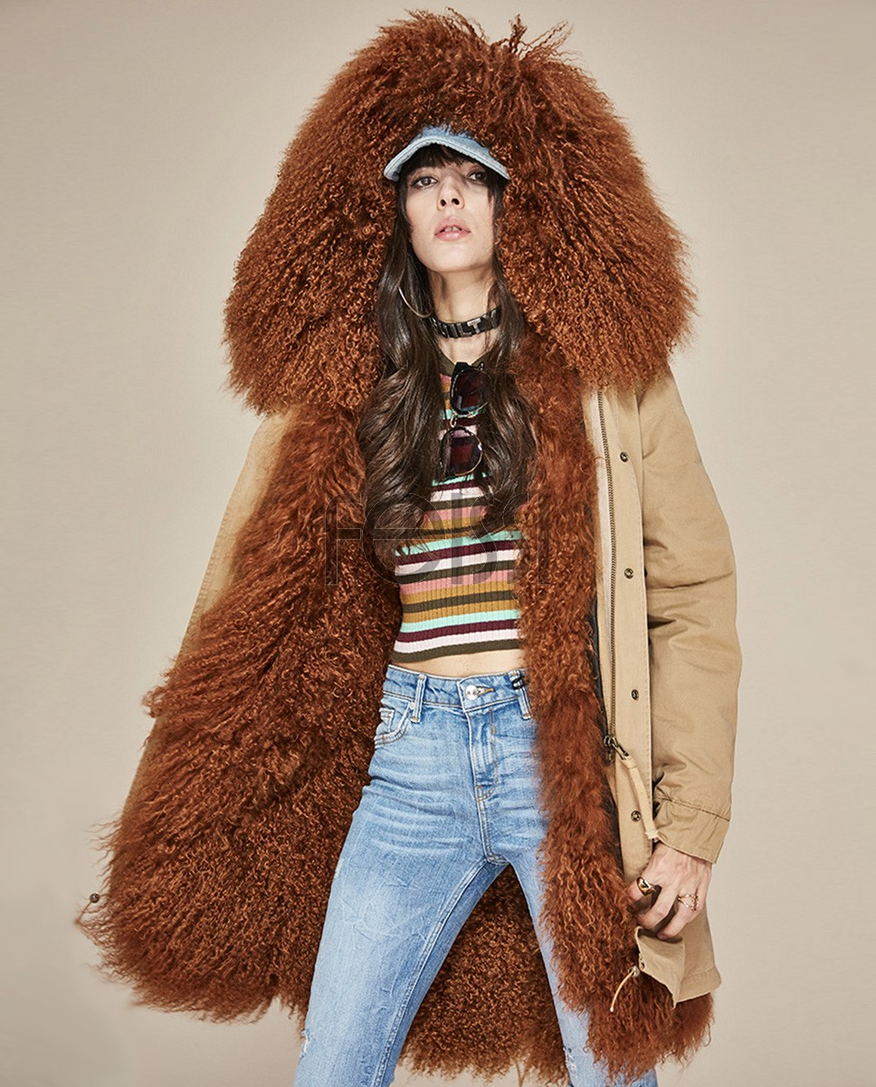 Tibet Sheep Fur Hooded Parka 119a