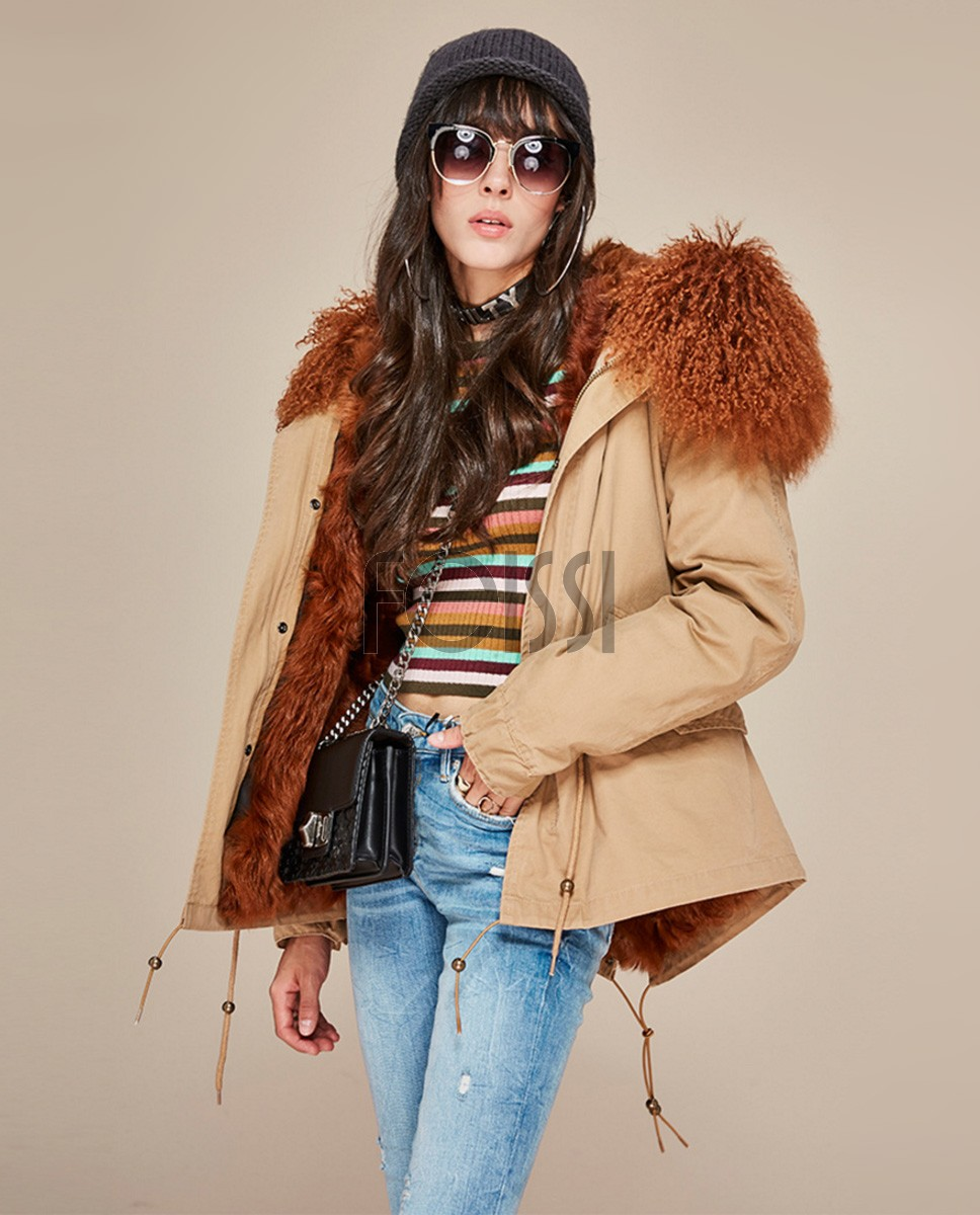 Tibet Sheep Fur Trimmed Hooded Parka with Lamb Fur Liner 126a